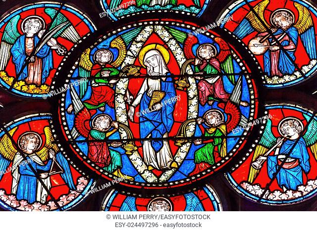 Virgin Mary Angels Stained Glass Notre Dame Cathedral Paris France. Notre Dame was built between 1163 and 1250 AD