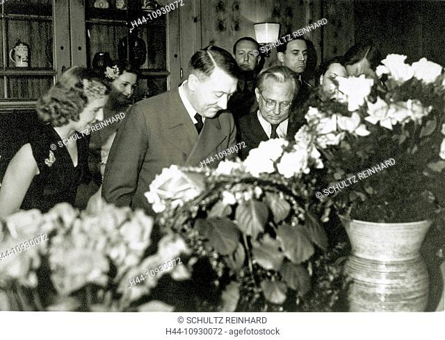 Eva Braun, Adolf Hitler, birthday party, Braun, Hitler, Herta Schneider, Berghof, Berchtesgaden, Germany, 1943, World War II