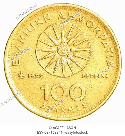 100 old Greek Drachmas coin isolated on white background