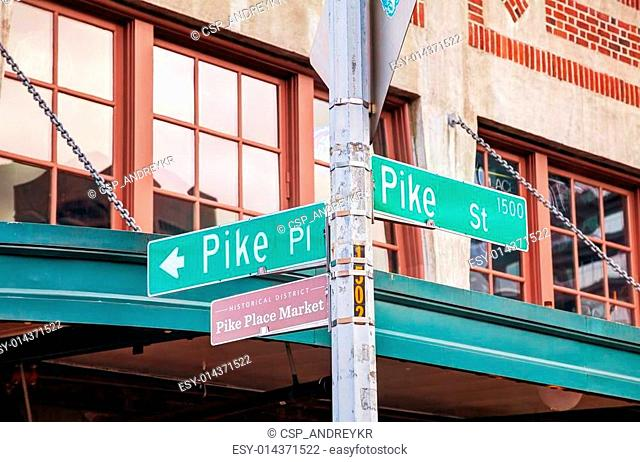 Pike place sign at the famous Public market in Seattle