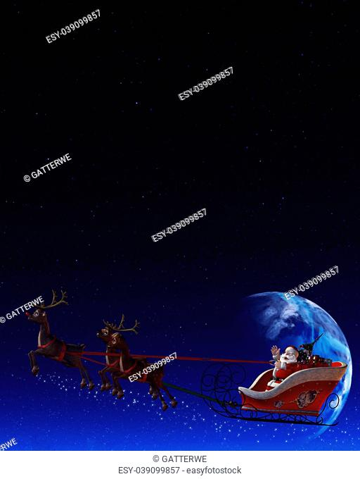 Santa Claus is flying in his sleigh and his reindeer in the night the moon is shining
