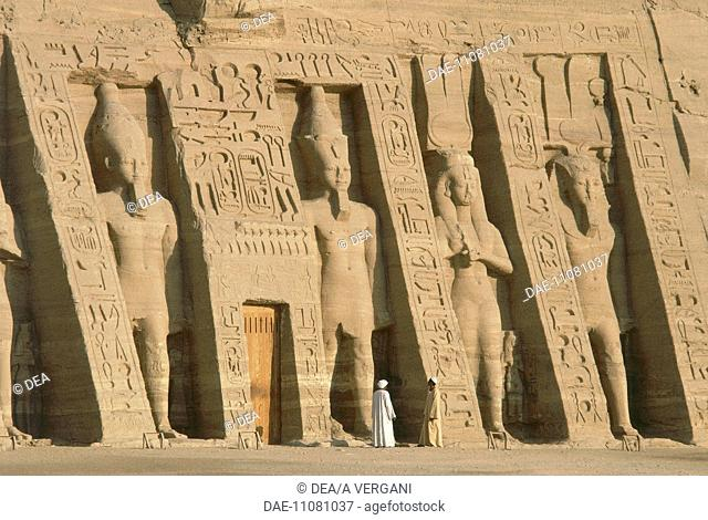 Egypt - Nubia - Abu Simbel (UNESCO World Heritage List, 1979). Facade of the Temple of Hathor, dedicated to Ramses II (1279-1213 BC) to his royal wife