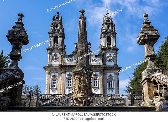 Church of Our Lady of Remedies and Fountain of the Giants in the foreground, from the Stairway. Lamego, Viseu District, Norte Region, Portugal, Europe