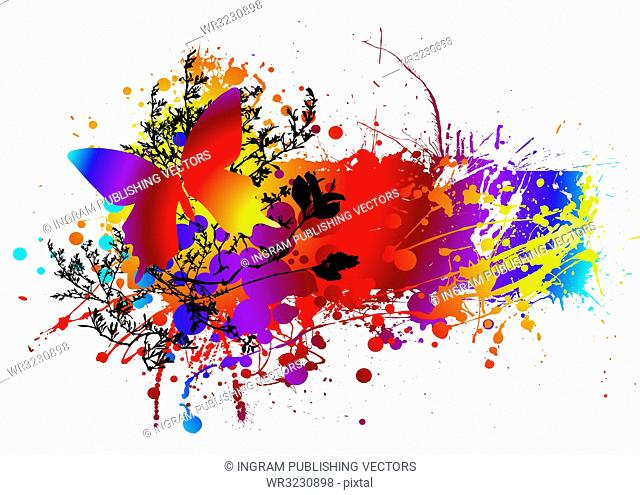 colourful ink splat natural background with room to add copy