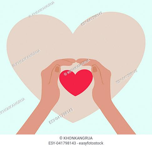 Two hands wrapped around a beautiful pink heart