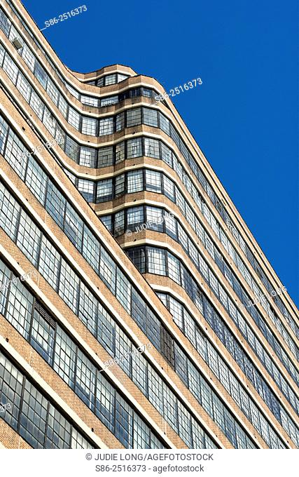 Looking Up at an Art Deco Style Old Warehouse/Factory Building, converted to office and studio space. Far West Side of Manhattan, New York City