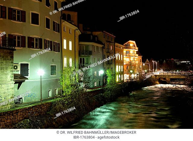 Gross Gerau Promenade on the Rienz river, Bruneck, Brunico, Puster Valley, province of Bolzano-Bozen, Italy, Europe