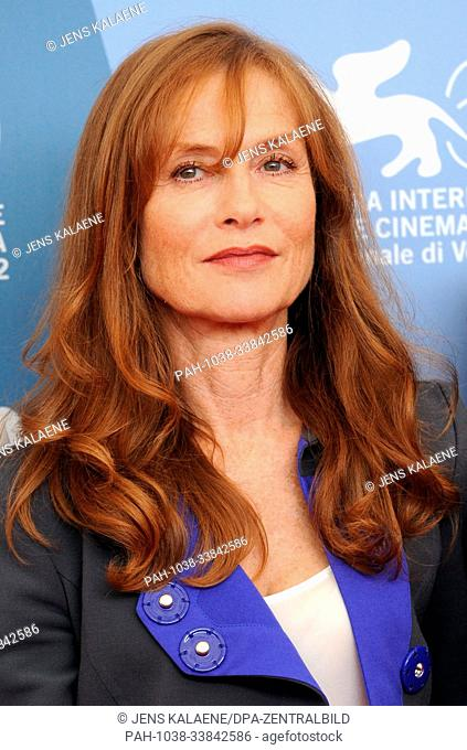 "French actress Isabelle Huppert attends the photocall of the movie """"Bella Addormentata"""" at the 69th Venice Film Festival in Venice, Italy, 04 September 2012"