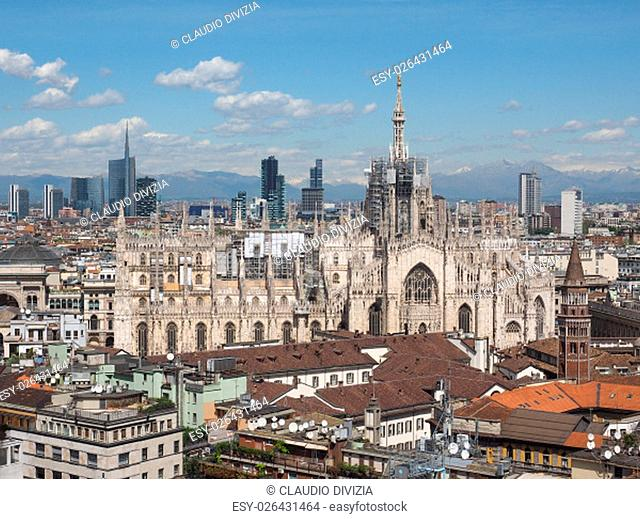Aerial view of Duomo di Milano gothic cathedral church in Milan, Italy