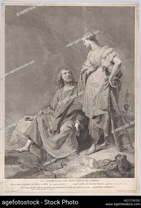 Christ and the woman of Samaria at the well, from the series of 112 prints of the sacre.., 1743-63. Creators: Pietro Monaco, Domenico Magioto