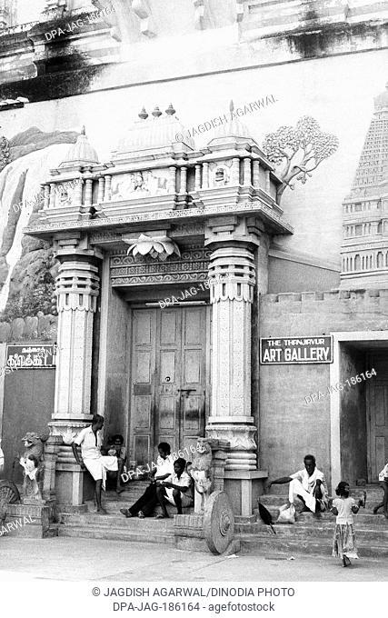 Art Gallery entrance people waiting Thanjavur Tamil Nadu India Asia 1979