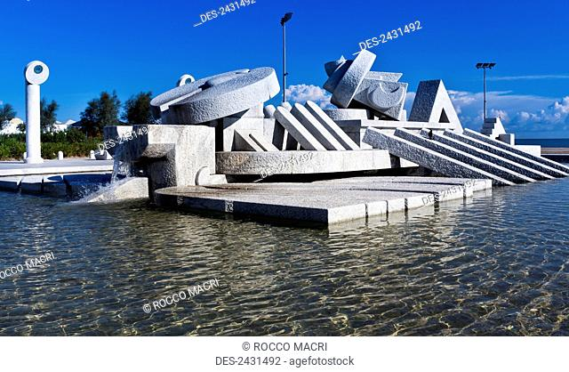 Unique sculpture and water fountain; Pescara, Italy