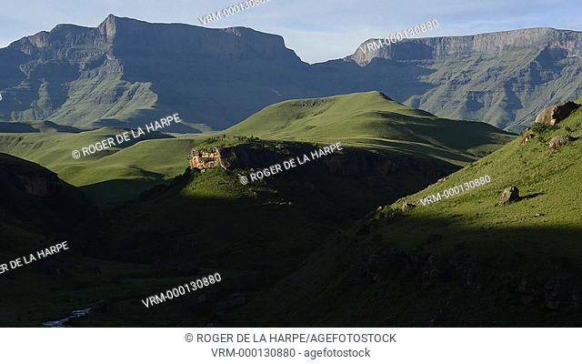 Time lapse of sunlight moving across mountains. Giant's Castle peak. Giant's Castle Game Reserve. Ukhlahlamba Drakensberg Park. KwaZulu Natal