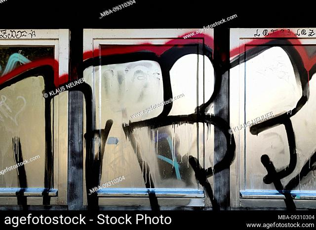 Front door, old, entrance, Grafitti, city view, Göttingen, Lower Saxony, Germany, Europe