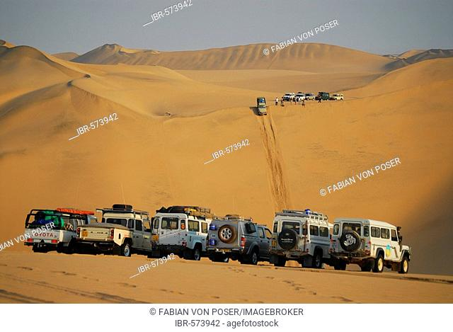 Jeeps in the dunes at Conception Bay, Diamond Area, Namibia
