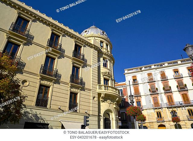 Granada Puerta Real facades in Spain at Andalusia Royal door square
