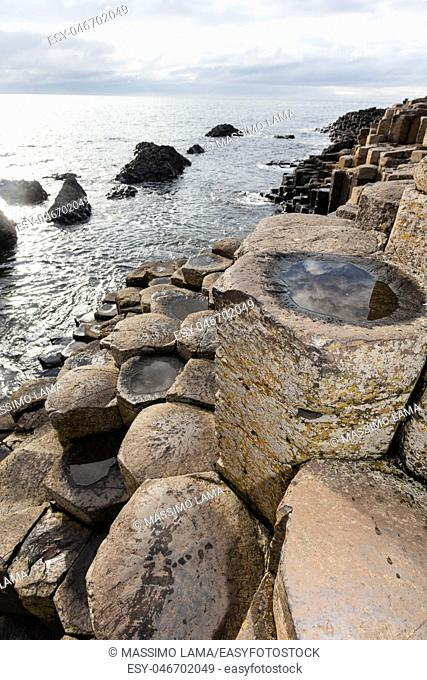 The Giant's Causeway is an area of about 40,000 interlocking basalt columns, the result of an ancient volcanic eruption