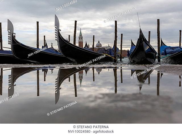 Reflection, gondolas, Venice, Italy