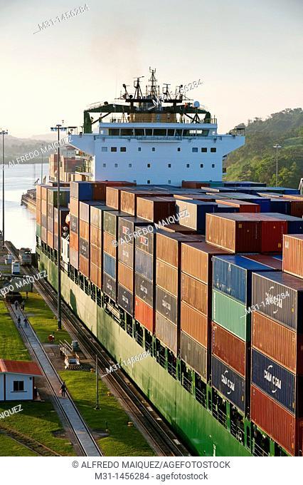 Cargo ship at Miraflores Locks Panama Canal  Panama City, Panama, Central America