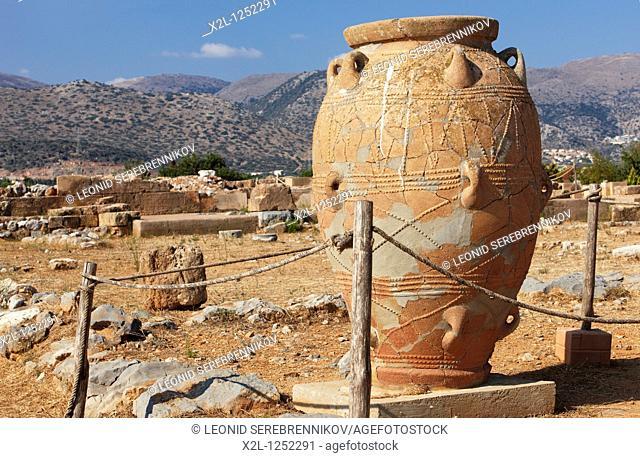 Giant pythos storage jar  Minoan Palace of Malia, Crete, Greece