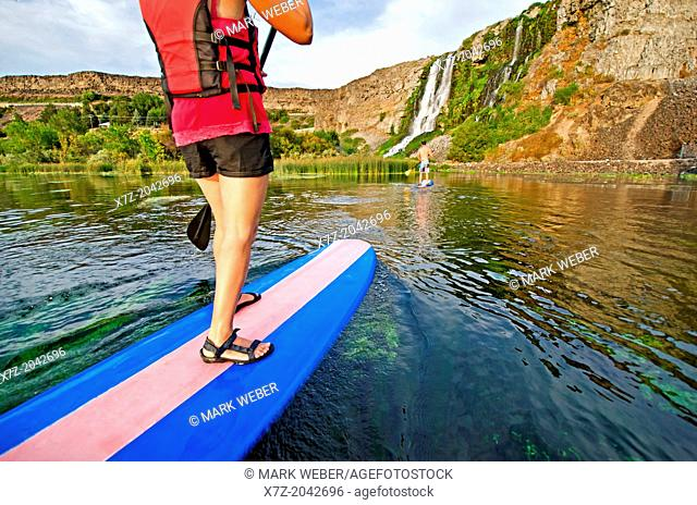 Riding the Standup Paddle Board at Thousand Springs in the Snake River Canyon near the city of Hagerman in southern Idaho