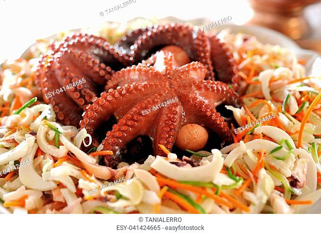 Delicious fresh octopus in a sea salad