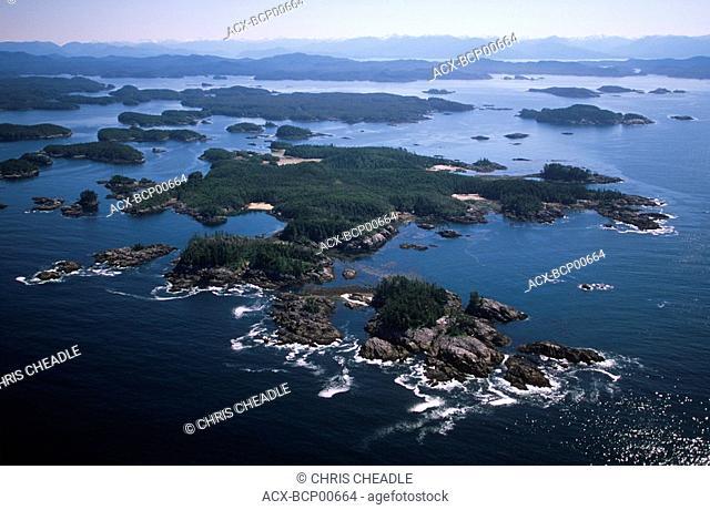 Aerial of Hakai Pass recreational Area, Central Coast along Inside Passage, British Columbia, Canada