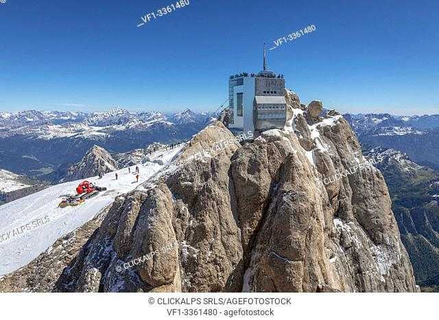 cable car station at Punta Rocca (mt 3265), in Marmolada and panoramic terrace with wonderful view on the Dolomites, Rocca Pietore, Belluno, Veneto, Italy