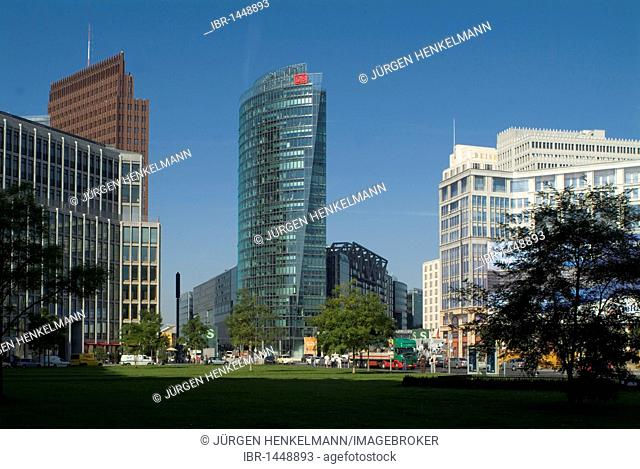 View from Leipziger Platz square on Potsdamer Platz square with Deutsche Bahn German Railways Tower and the Sony Center, Mitte district, Berlin, Germany, Europe