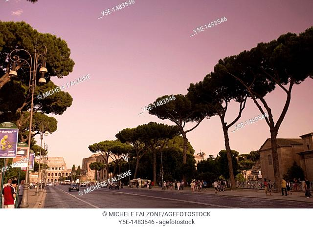 Via dei Fori Imperiali Roman Forum Road, Rome, Italy SUNSET FILTER