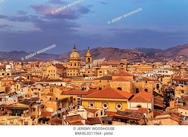 Cityscape at sunrise, Palermo, Sicily, Italy