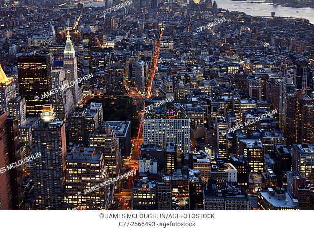 New York City, Manhattan, Skyline, Skyscrapers, Down Town, night