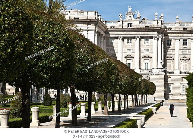 In the Plaza de Oriente with the Palacio Real in the background, Madrid, Spain