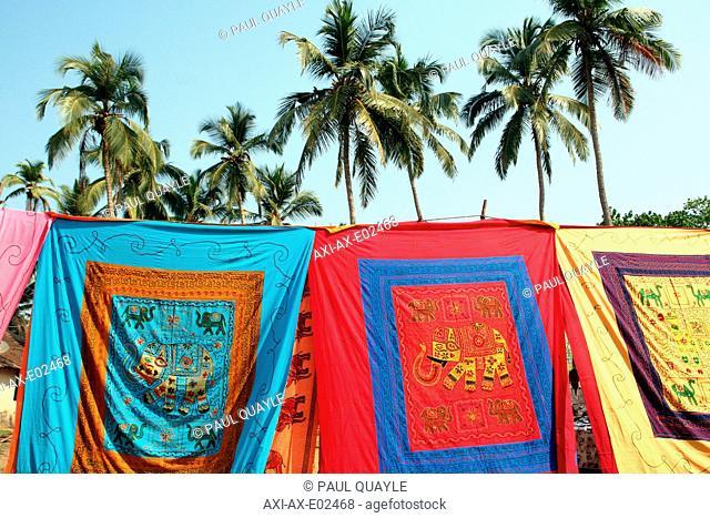Fabric for sale at Anjuna Flea MarketAnjuna Beach, Goa State, India, Asia