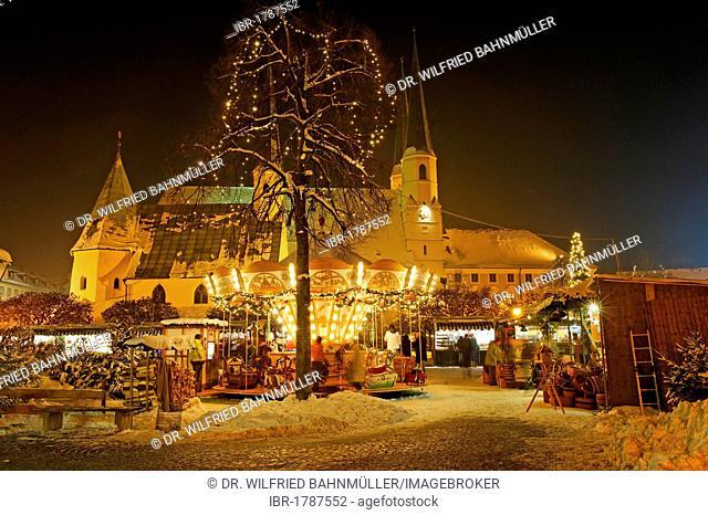 Christmas market, Kapellplatz, Altoetting, Upper Bavaria, Germany, Europe