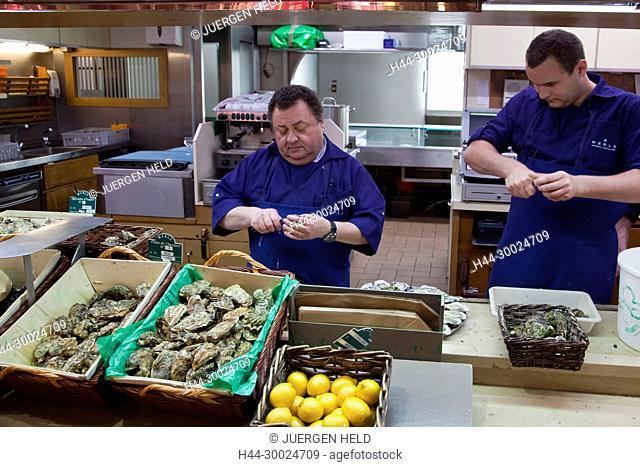 Sea Food in Les Halles de Lyon Paul Bocuse , Gourmet market, Lyon, Rhone Alps, France