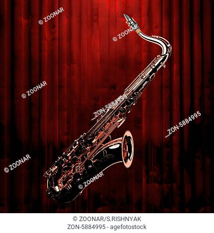 saxophone and red curtain