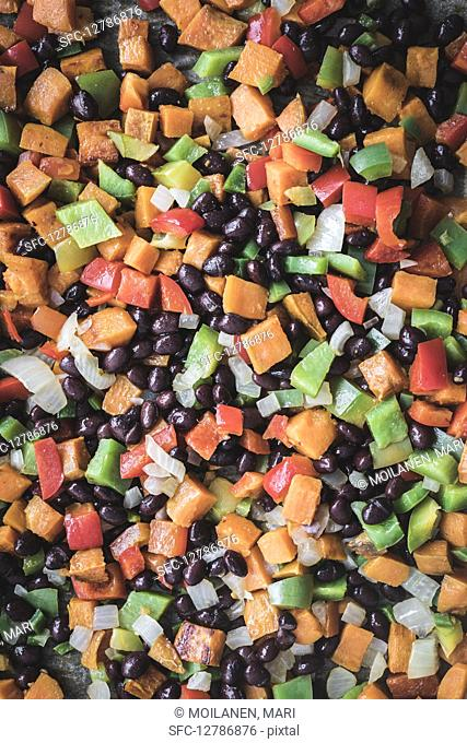 Beans with diced vegetables for Mexican dishes