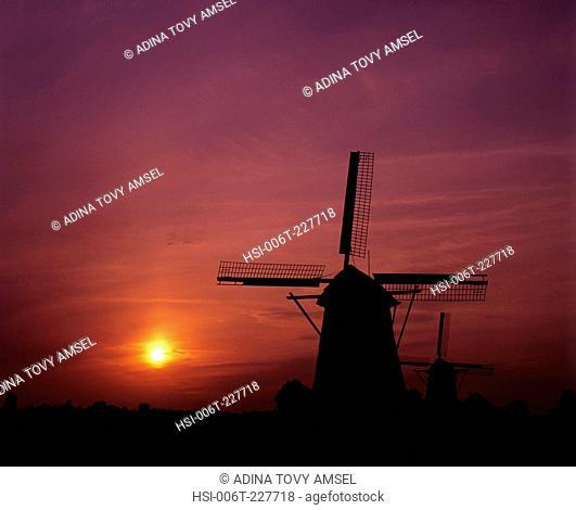 Netherlands. Windmills. Zaanse Schans Mills. Sunset