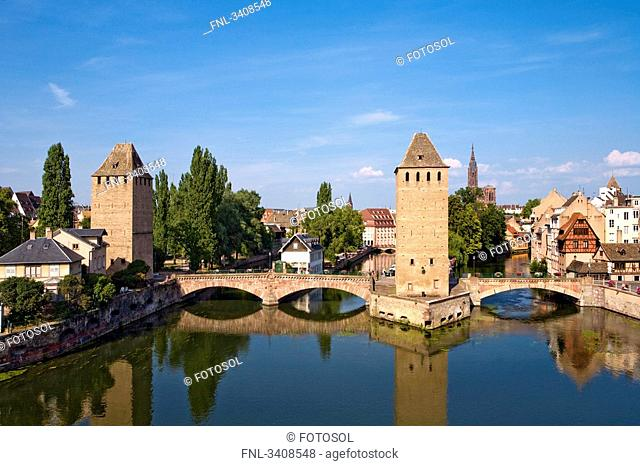 Ponts Couverts over the Ill river, Strasbourg, France, elevated view