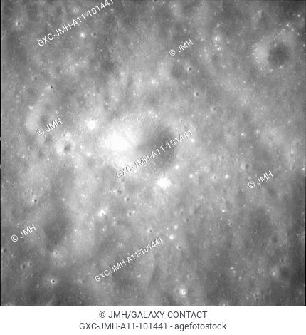 (processed) apollo 11 hasselblad image from film magazine - lunar orbit, trans-earth coast. Apollo 11 mission, first landing on the moon, july 1969