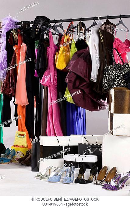 Woman's closet in a studio setting