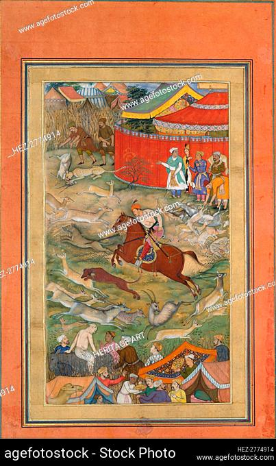 Hamid Bhakari Punished by Akbar, Folio from an Akbarnama, ca. 1604. Creator: Manohar
