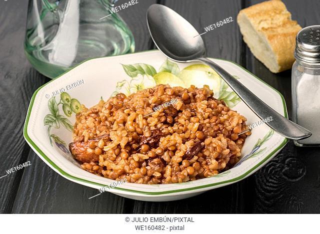 lentils stewed with chorizo