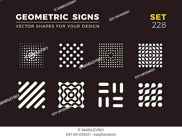 Set of eight minimalistic trendy shapes. Stylish vector logo emblems for Your design. Simple universal geometric signs collection