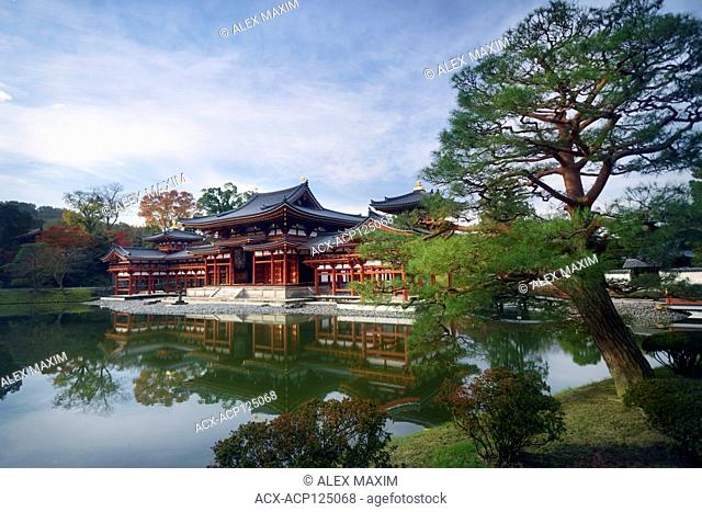 Beautiful Amida hall of Byodo-in temple on the pond of Jodo-shiki Pure Land garden in early morning sunrise scenery with bright blue sky