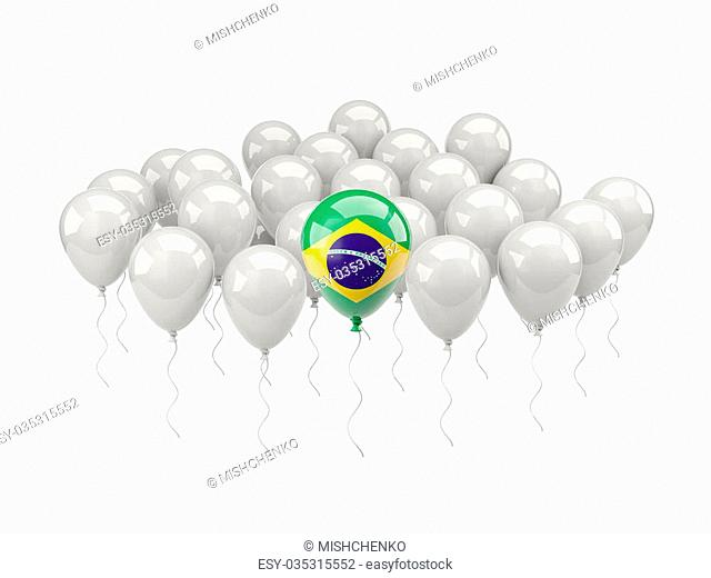 Air balloons with flag of brazil isolated on white