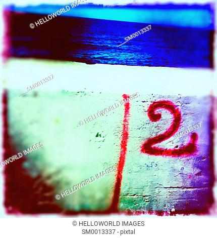 Number sprayed on wall by the Black sea, Crimea