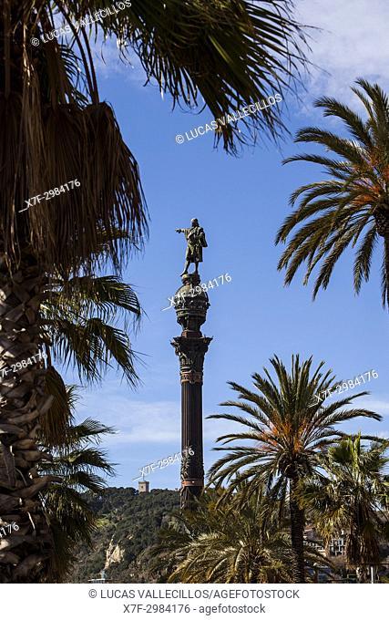 Monument to explorer Christopher Columbus, located in the Plaza de la Pau, Barcelona, Catalonia, Spain