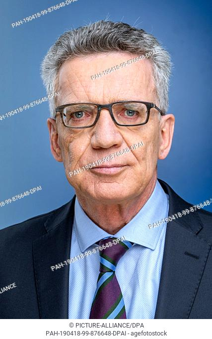 "12 April 2019, Saxony, Leipzig: The politician Thomas de Maizière, recorded at the MDR talk show """"Riverboat"""" on 05.04.2019 in Leipzig"